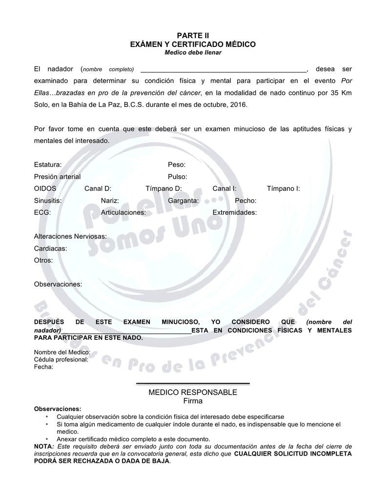 certificado medico natacion