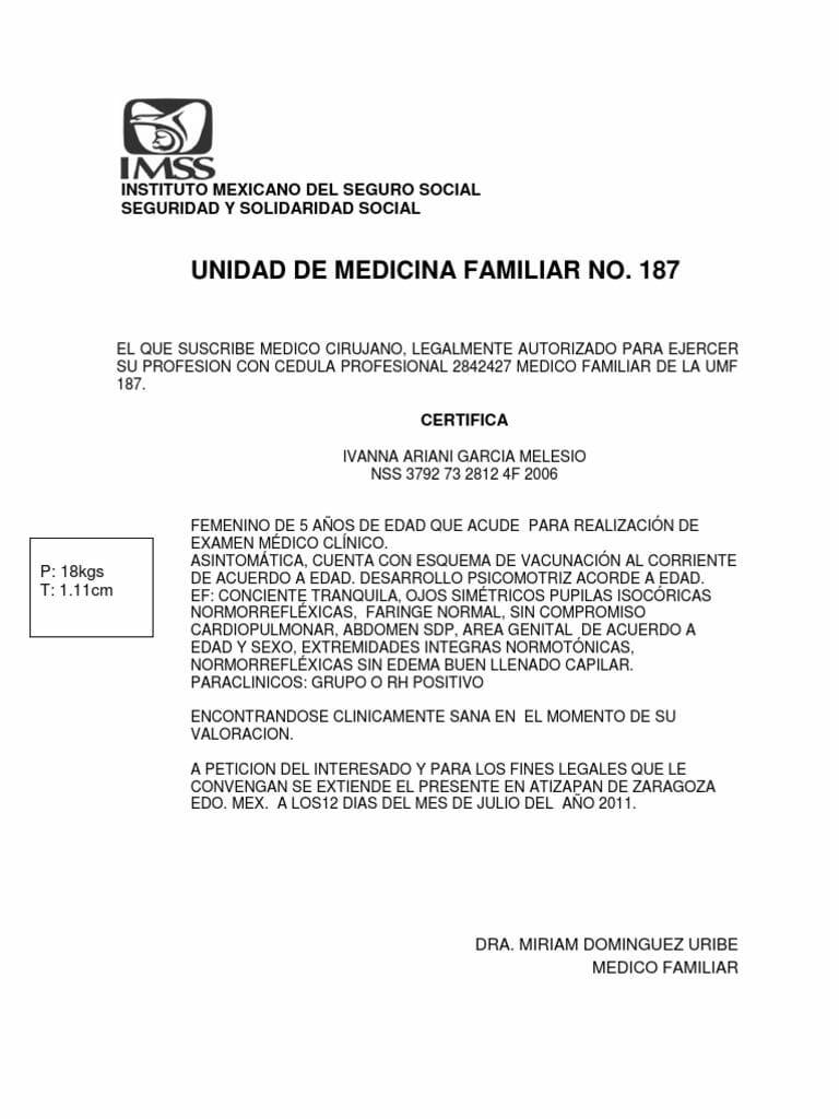 ejemplo de certificado medico IMSS